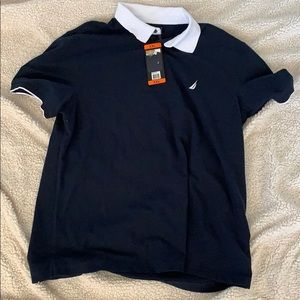 Maybe and white polo shirt